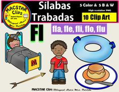 """Slabas Trabadas Dr Clip Art Fl """"MACSTAR Clips   10 images in totalYou will receive: one clip art for each Slaba Trabada Fl  fla, fle, fli, flo, flu5 Color Clip Art: As shown in the preview5 Black and White Clip ArtAll images have high resolution and are in PNG formats so they can easily be layered in your projects and lesson materials.Terms of Use:The clip art may be used in educational commercial products."""