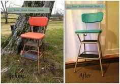 A vintage cosco stool gets a makeover. - farmfreshvintagefinds.com