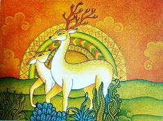 Worli Painting, Kerala Mural Painting, Madhubani Painting, Fabric Painting, Deer Drawing, 3d Art Drawing, Art Drawings For Kids, Colorful Drawings, Pichwai Paintings