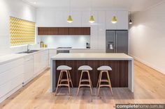 white and timber overhead cupboards kitchen - Google Search