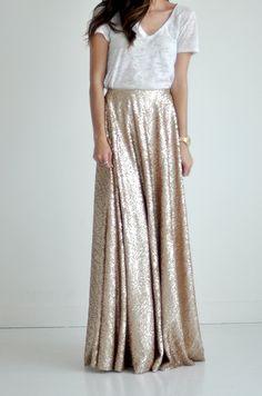 Sequin Maxi Skirt | Golden Champagne