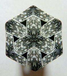 Black White and Silver Hexagon Polymer Clay Cane by ClaybyKerm,