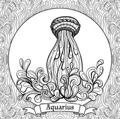 Coloring book for adult and older children. Coloring page with 12 zodiac signs. Outline drawing.