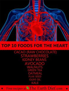 TOP 10 FOODS FOR HEART HEALTH    1. CACAO (RAW CHOCOLATE) ❥ Has a blood-thinning effect, which can... pinned with Pinvolve