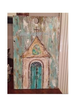 Distressed wood art painting church chapel by JaneLazenbyartist