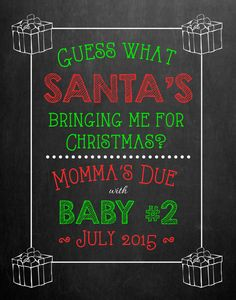 Christmas Chalkboard Pregnancy Announcement // by MMasonDesigns