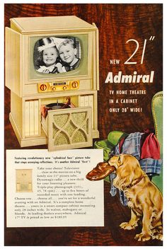 Love the built in record player! #vintage #electronics #TVs #1950s #ads