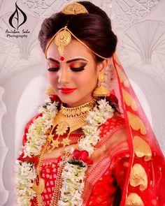Indian Wedding Bride, Bengali Wedding, Bengali Bride, Bridal Wedding Dresses, Bridal Outfits, Indian Bridal, Bridal Makup, Bengali Bridal Makeup, Bridal Beauty