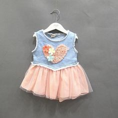 Baby Jeans Lace Flower Love Tutu Dress Kid Girls Ruffle Demin Cowboy Dresses 0-3Y