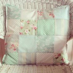 Lauralou Textiles  Patchwork cushion using Tilda & Cabbages and Roses fabric
