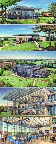 Wight & Co. Lewis University.  Charrette drawings by Bruce Bondy, Bondy Studio.