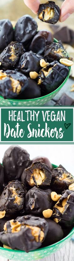 These peanut butter stuffed dates with chocolate are lightly salty, chewy, and incredibly sweet! Healthy vegan snickers with only four ingredients! <3 | veganheaven.org