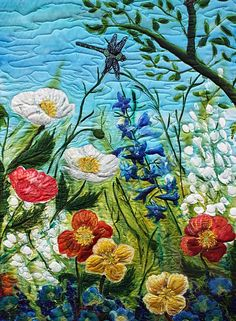 Hand painted Silk Art Quilt- Spring is calling