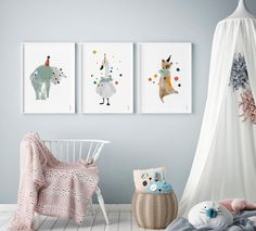 Whimsical party animal posters to brighten up any room http://petitandsmall.com/whimsical-party-animal-posters-brighten-room/