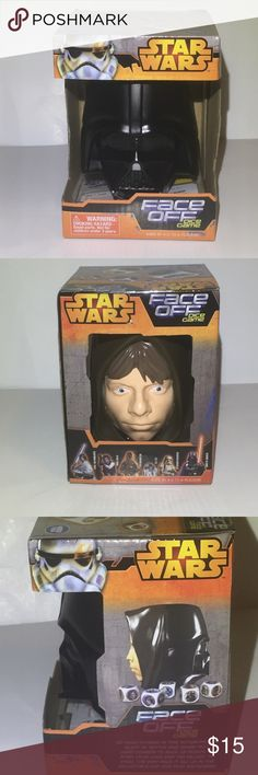 """Star Wars """"Face Off"""" Dice Game -brand new! Never opened. -go head to head in this action-packed bluff n battle dice game! -comes with 5 dice, instructions, and fun Darth Vader/ Luke Skywalker Dice cup!  -battle heroes vs. villains in this fun game featuring Star Wars characters! -cup stands approximately 3 1/2"""" tall Star Wars Other"""