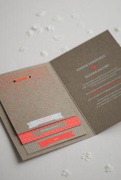 INVITATION IDEA - neon + brown card