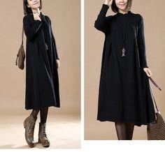Literature Long Sleeves Autumn Winter Black Women Dress