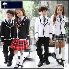 British korean japanese school uniform kids clothes uniforme escolar children girls and boys clothing jacket skirt 5 sets