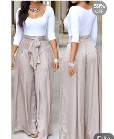 Scoop Neck White Top and Grey Loose Pants Mode Outfits, Fashion Outfits, Womens Fashion, Look Fashion, Autumn Fashion, Fashion Styles, Casual Wear, Casual Outfits, Two Piece Pants Set
