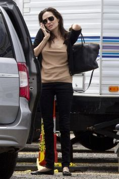 Angelina Jolie wearing Repetto Ballet Flats and Louis Vuitton Lockit Tote