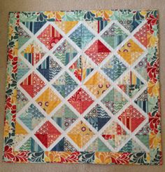 Salt Air lattice quilt--found this one on Pinterest, but modified it to make smaller blocks for a rectangular baby floor quilt.