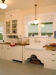 Interior Design, Marvelous 1920s Home Decor For Kitchen With Beautiful Transparent Curtains With Classic Windows Design Also Classic White Sink Also Faucet & Mixer Tap Design Also Antique Pendant Lights And Stunning Ceiling Lamp: Inspirational 1920s Home Looks to Apply