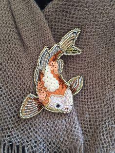 Koi Fish beaded embroidery brooch. Koi fish pin