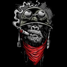Ape of Duty - Gorilla Warfare Shirt. Funny and totally awesome artwork of a gorilla soldier smoking a cigar. Gorilla Tattoo, Graffiti Art, Arte Dope, Dope Art, Comic Kunst, Comic Art, Dope Kunst, Monkey Art, Skull Art