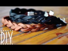 DIY Braided Leather Bracelet  - can also use this as a 'band' - see http://www.lebenslustiger.com/serendipity/archives/448-Easy-Chunky-Leather-Bracelet-Tutorial.html to an example of using the elastic and beads for a no clasp look.