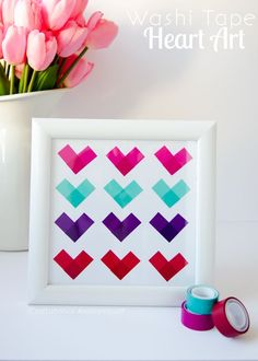 cute washi tape hearts - 37 DIY Washi Tape Decorating Projects You Will Love