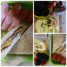 Banana and Nutella in whole wheat breads and skewered fish sausages and tomatoes for lunch, and rice crakers, mixed berries and vitamin jellies for snack.