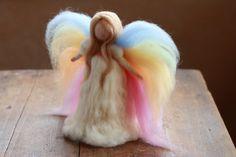 Needle Felted Rainbow Fairy, Angel, Rainbow Doll, Guardian Angel, Toy, Waldorf, Spring, Girls Birthday Gift, Needle Felt by Cloudberrycrafts