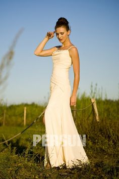 Chiffon Straps Beading Split Beige Long Prom / Evening Dress