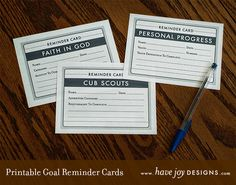 Free printable Goal Reminder Cards for Personal Progress, Faith In God, and Cub Scout requirements. Free x 11 PDF Printable, by Have Joy Designs. Car Activities, Activities For Girls, Derby Cars, Personal Progress, Pinewood Derby, Activity Days, Cub Scouts, Faith In God, Lds