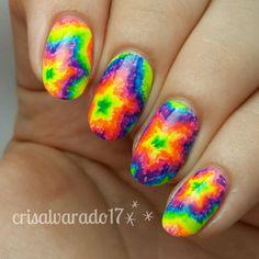 Star Tie Dye nail art by Cristina Alvarado