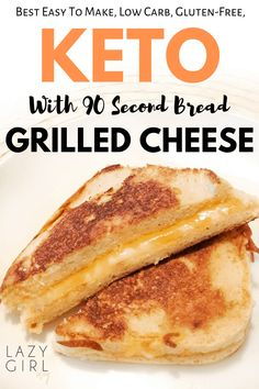 A healthy and tasty keto grilled cheese made with bread, then grilled in butter until perfectly golden and cheesy. Lunch or dinner idea that kids love too. This 90 second keto bread is going to make all of those low carb and keto bread dreams come true. Ketogenic Recipes, Low Carb Recipes, Quick Recipes, Healthy Recipes, Healthy Food, Keto Smoothie Recipes, Free Keto Recipes, Healthy Carbs, Atkins Recipes