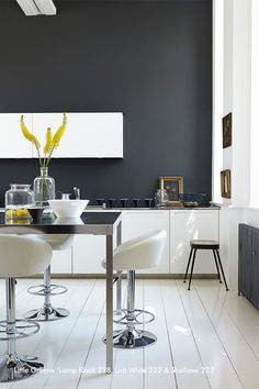 Gorgeous grey kitchen design with small kitchen bar and white glossy bar stools also white kitchen cabinet and white painted wooden floor. Kitchen Remodel, Kitchen Design, Black Lamps, Kitchen Paint, Grey Kitchen Designs, Modern Kitchen, Grey Kitchen, Kitchen Layout, Grey Kitchen Colors