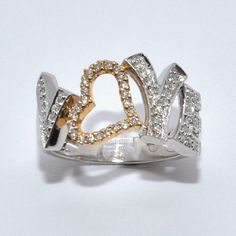 """""""Love"""" this ring... what a great idea. Two-Tone Gold Diamond Ring."""