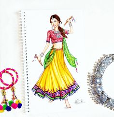Navratri, is the most celebrated Hindu festival devoted to Goddess Durga symbolizing purity and power. It combines prayers and resplendent… Dress Design Drawing, Dress Design Sketches, Fashion Design Sketchbook, Art Drawings Sketches Simple, Fashion Design Drawings, Dress Drawing, Fashion Sketches, Artwork Drawings, Dress Illustration