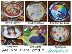 Magnetic games made out of metal serving trays bought from the dollar store. Can I pull off making one of these before our car ride in two days? I hope so!