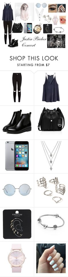"""Justin Bieber Concert - Concert Outfits"" by inesfragosa on Polyvore featuring H&M, WithChic, MICHAEL Michael Kors, Hermès, Forever 21, Topshop, Pandora, BP., Charlotte Tilbury and Justin Bieber"
