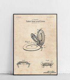 Plakat z reprodukcją patentu przedstawiającego deskę sedesową, autorstwa Herbert'a Cumming Macdonald.  Patent nr USD311882S został opublikowany w 1990 roku przez Urząd Patentów i Znaków Towarowych Stanów Zjednoczonych. Fig, Vintage World Maps, Cover, Ficus, Figs