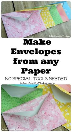Make DIY Envelopes from any Paper - cute for weddings, invites or gifts! eclecticallyvintage.com