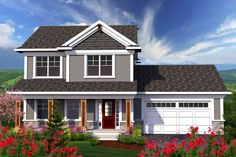 Country Style House Plans - 1569 Square Foot Home , 2 Story, 3 Bedroom and 2 Bath, 2 Garage Stalls by Monster House Plans - Plan House Plans 2 Story, 2 Story Houses, Two Story Homes, Craftsman House Plans, Country House Plans, Small House Plans, Craftsman Style, Two Story House Design, Craftsman Exterior