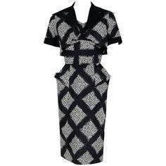 1940's Don Loper Black White Abstract Checkered Silk Shelf-Bust Dress