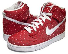 red and white polka dot nikes.... size 7!