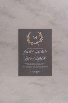 GISELLE Suite Basic Package, elegant rustic wedding invitation with foil laurels, rose gold foil, grey, marble