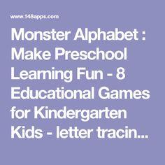 Monster Alphabet : Make Preschool Learning Fun - 8 Educational Games for Kindergarten Kids - letter tracing, coloring, reading &…