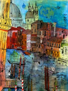 Christopher Tate Art - Venice Gallery | Christopher Tate Art | Cornish Artist Landscape Artwork, City Landscape, Contemporary Landscape, Voka Art, Venice Painting, Architecture Collage, Collage Art Mixed Media, City Illustration, Urban Sketching