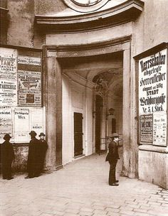 Entry to old Burgtheater at Michaelerplatz around High Street Shops, Theater, Austro Hungarian, To Go, White Horses, Belle Epoque, Old Pictures, Hungary, Old World